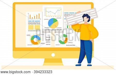 Man Is Working And Analyzing Financial Statistics On The Background. Marketer Is Studying Informatio