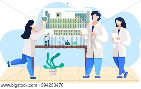 Scientific Research. Scientists In Lab Coats. Chemical Laboratory Experiments. Periodic Table. Girl