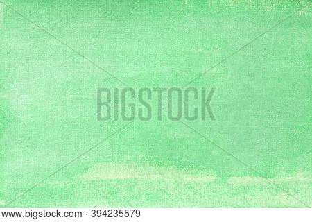 Watercolor Solid Green Background With Glitter. Turquoise Paper Texture Close-up Evenly Over The Ent