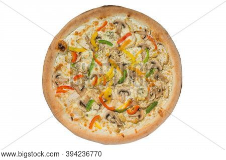 Italian Pizza With A Bead In The Assortment On A White Background
