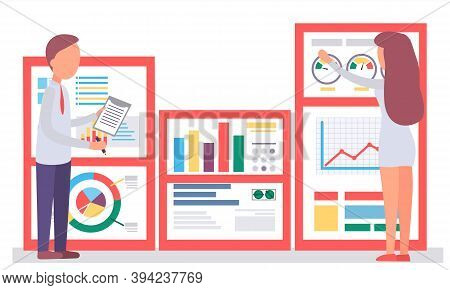 The Woman Works With Graphs And Charts On The Background. Man Writes Financial Statistics And Analyz