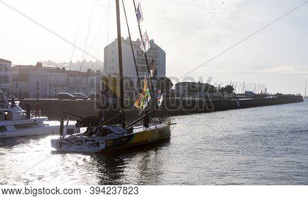 Les Sables D'olonne, France - November 08, 2020: Louis Burton Boat (bureau Vallee 2) In The Channel