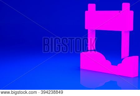 Pink Ribbon In Finishing Line Icon Isolated On Blue Background. Symbol Of Finish Line. Sport Symbol