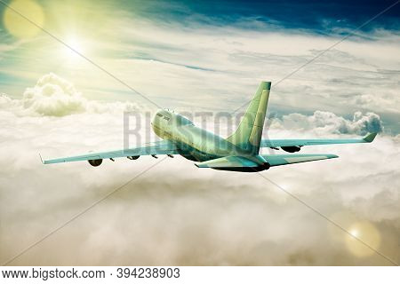 3d Rendering Of A Passengers Airplane On Flight Over The Clouds.