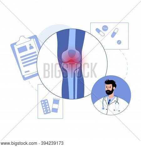 Arthritis Knee Joint Logo Template. Rheumatoid Arthritis Clinic Logo. Doctors Appointment And Medica