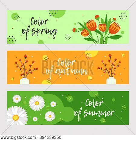 Modern Banners Design For Florist Store. Colorful Graphic Ads With Flowers And Branches. Ikebana And