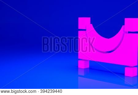Pink Skate Park Icon Isolated On Blue Background. Set Of Ramp, Roller, Stairs For A Skatepark. Extre