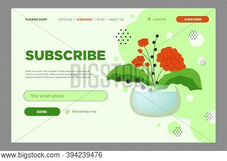 Email Subscribe Design With Flowers In Vase. Online Newsletter Template With Mailbox And Submit Butt
