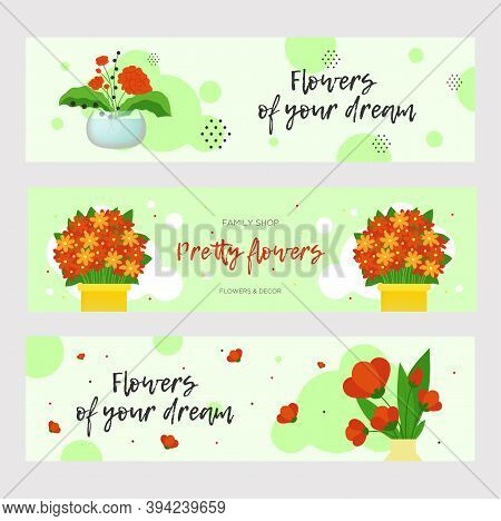 Pretty Flowers Banners Design For Store. Bright Modern Elements With Plants In Vases And Pots. Flori