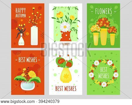 Modern Floral Greeting Card Design With Best Wishes. Creative Postcards With Ikebana And Flowers. Fl