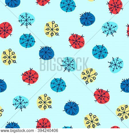 Seamless Pattern With Hand Drawn Multicolored Snowflakes On Blue Background. Winter, Christmas, New