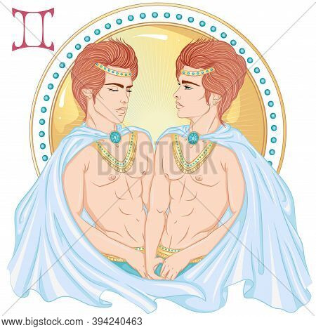 Zodiac. Vector Illustration Of The Astrological Sign Of Gemini As A Beautiful Man With A Naked Torso
