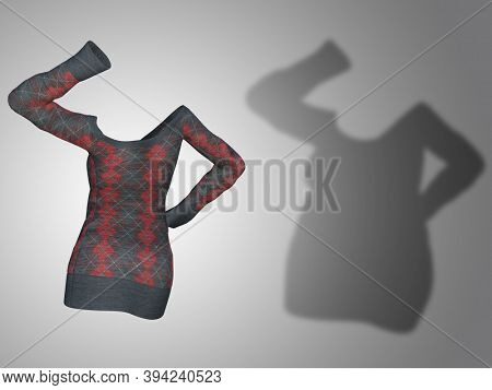 Conceptual fat overweight obese shadow female sweater dress vs slim fit healthy body after weight loss or diet thin young woman on gray. A fitness, nutrition or obesity health shape 3D illustration
