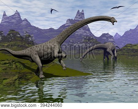Diplodocus Dinosaurs Walking In A Landscape By Day - 3d Render