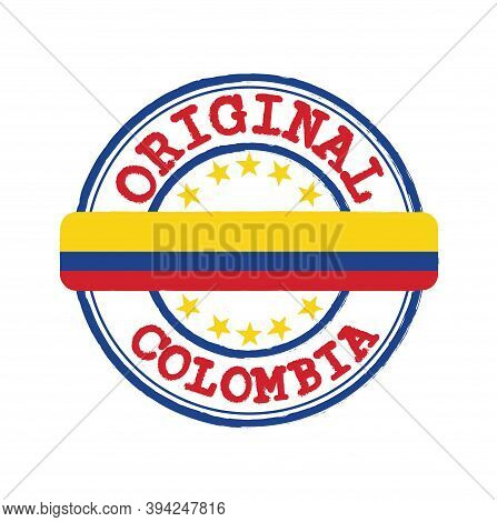Vector Stamp Of Original Logo With Text Colombia And Tying In The Middle With Nation Flag. Grunge Ru