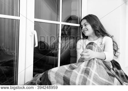 Lets Get Cozy. Little Child Feel Cozy At Home. Small Girl Sit On Window Sill. Cute Kid Rest Covered