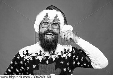Celebrate Holiday Night In Style. Happy Santa Twirl Long Mustache. Bearded Man Smile Festive Holiday