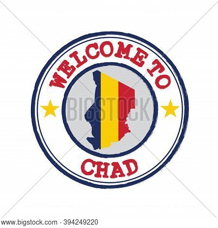 Vector Stamp Of Welcome To Chad With Map Outline Of The Nation In Center. Grunge Rubber Texture Stam