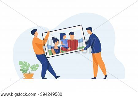 Two Men Carrying Big Family Picture. People Moving Into New Apartment Flat Vector Illustration. Artw