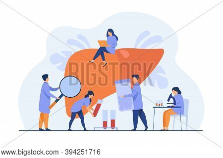 Tiny Doctors Treating Hepatitis Or Liver Cancer Isolated Flat Vector Illustration. Cartoon Physician