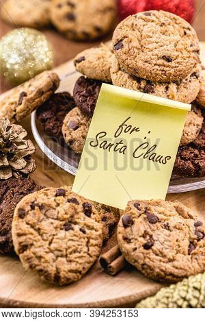 Traditional American Cookies With English Note Saying: For Santa Claus. Christmas Decoration In The