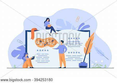 Tiny People Reading And Writing Poetry Or Poem Isolated Flat Vector Illustration. Cartoon Characters