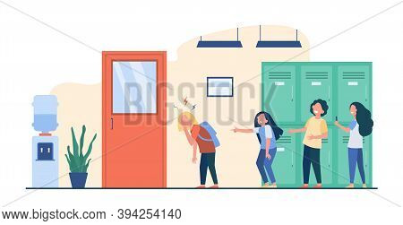 School Bullying Victim. Group Of Kids Laughing At Sad Lonely Classmate, Pointing Finger At Girl, Sho