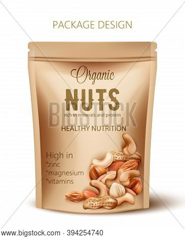 Package With Organic Nuts. Rich In Minerals And Protein. Healthy Nutrition, High In Zinc, Magnesium