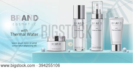Composition Of Three Containers With Cosmetics, Thermal Water On Teal Podium With Beads. Place For T