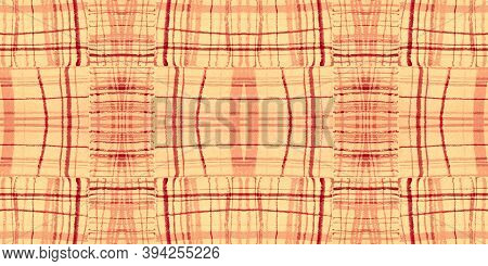 Orange Tartan Pattern. Watercolor Picnic Border. Woven Squares For Kilt Design. Seamless Autumn Tart