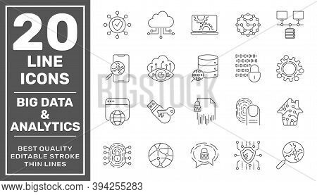 Data Processing Line Vector Icon Set. Contains Such Icons As Big Data, Data Analytics, Data Collecti