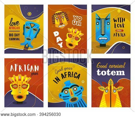 African Greeting Cards Set. Ethnic Tribal Masks, Traditional Totem Vector Illustrations With Text. C