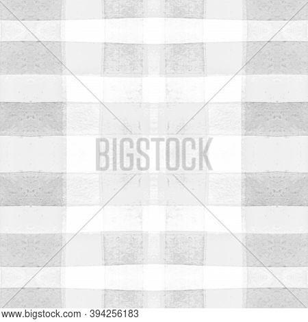 Tartan Shirt Prints. Watercolour Picnic Border. Woven Geometric Squares For Kilt Print. Seamless Men