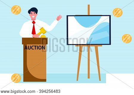 Man Auctioneer With Gavel. Sales In Art Gallery. People Buyers Bargain For Picture. Vector Flat Illu