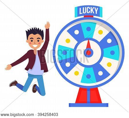 Game Fortune Wheel Concept. Man Playing Risk Game With Fortune Wheel And Lottery. Casino And Gamblin