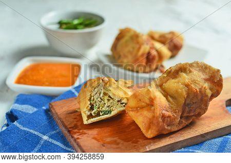 Martabak, Stuffed Pancake Or Pan Fried Bread Indonesian Dish