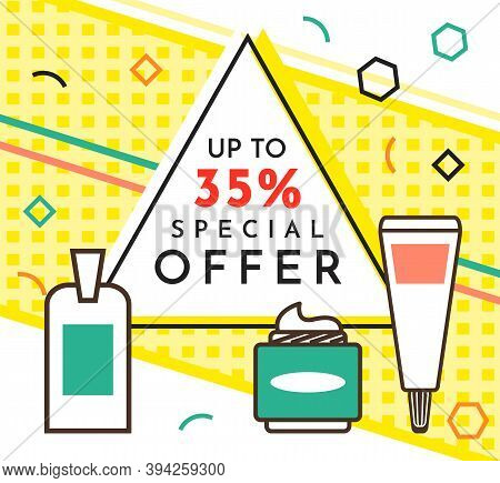 Spesial Offer Perfume Shop Poster. Sale Banner Template Design, Discount Special Up To 35 Off. Super