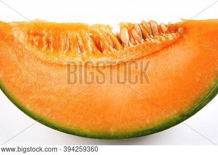 Macrophoto Melons Cantaloupe. A Piece Of Ripe Melon.
