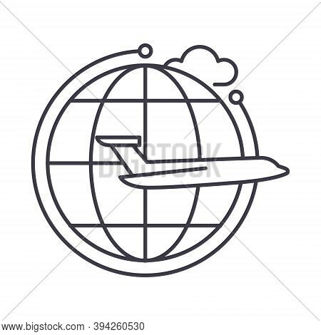 Around The World Icon, Linear Isolated Illustration, Thin Line Vector, Web Design Sign, Outline Conc