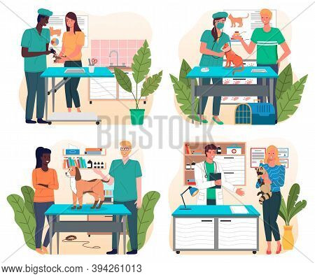 Set Of Illustrations On Veterinary Theme. Veterinarian S Office With Surgical Or Examination Table.