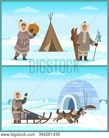 Arctic People In Fur Clothes Near Igloo And Tent On Snowy Landscape. Happy Eskimo Man And Woman Hold