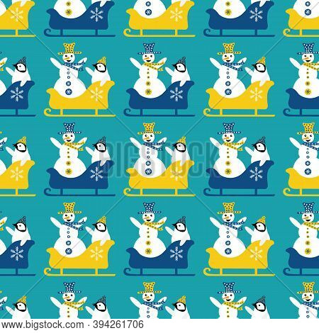 Snowman And Baby Penguin Sledging Seamless Vector Pattern Background. Blue Yellow Geometric Backdrop