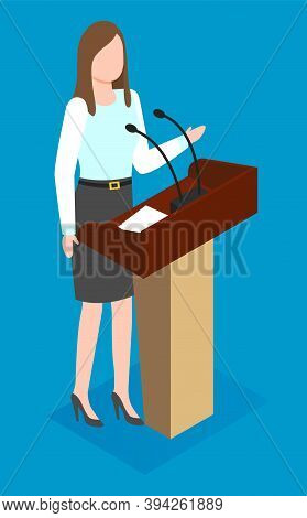 Isometric Image Of A Woman Speaker At The Podium With Microwaves. Conference, Business Presentation,