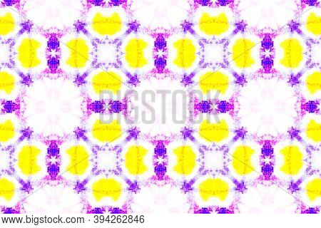 Watercolor Tie Dye Seamless Pattern. Tie Dye Bohemian Abstract Ceramic. Colorful And White Color. Ha