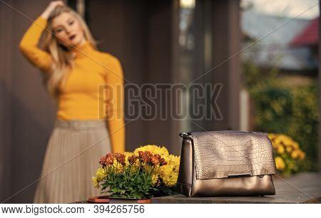 Luxury Leather Purse. Shopping Sale And Discount. Fashion Purse. Pretty Woman Defocused And Her Beau
