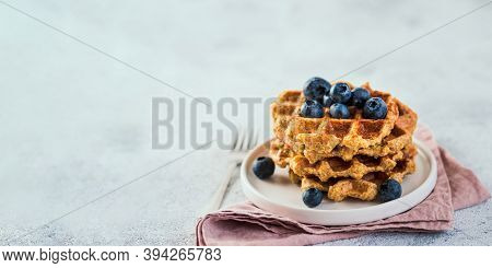Easy Healthy Gluten Free Oat Waffles With Copy Space. Stack Of Appetizing Homemade Waffles With Oat