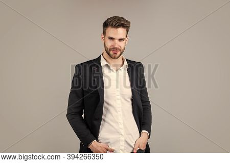 He Got Great Style. Portrait Of A Handsome Ceo. Businessman In Suit. Young Handsome Man. Young Manag