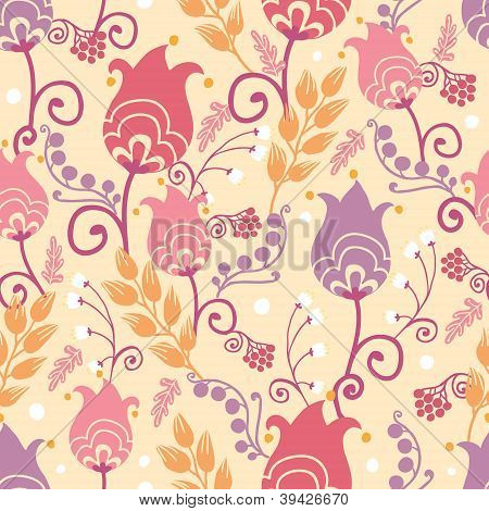 Tulip flowers seamless pattern background