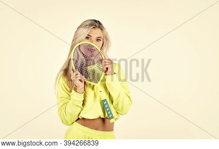 Sport For Health. Girl Hold Tennis Racket In Hand. Fitness Woman. Play Game. Tennis Club Concept. Su