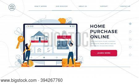 Home Purchase Online, Template For Homepage. Couple Touching The Button On Monitor Screen, Buy A Hom